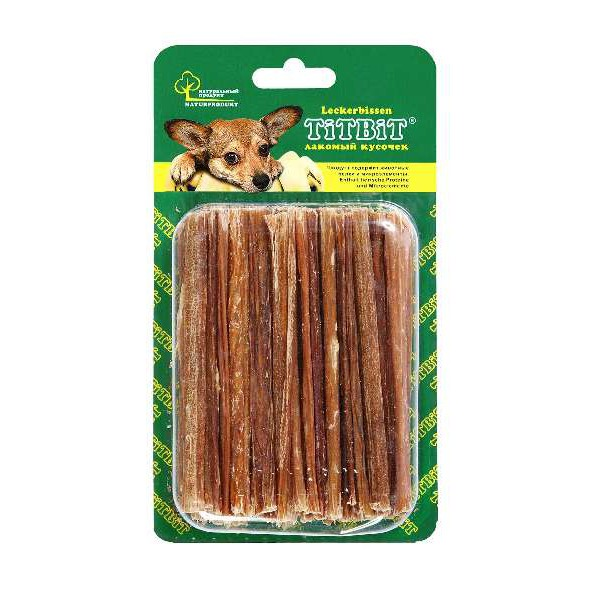 Лакомство для собак Titbit, говяжьи кишки, 40 г титбит лакомство сухожилия говяжьи большие для собак titbit dent 1 уп
