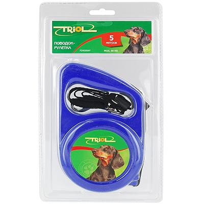 Поводок-рулетка Triol, для собак до 30 кг, цвет: синий, 5 м. Р-01100 triol р 00100