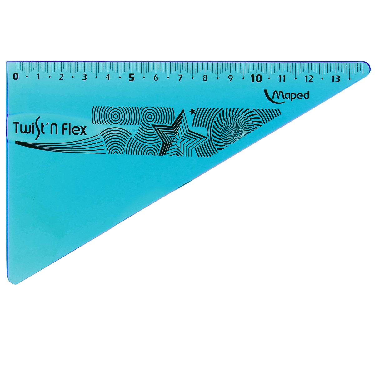 Угольник Maped Twist-n-Flex, неломающийся, 14 см, цвет: синий линейка maped twist n flex неломающаяся цвет голубой 20 см