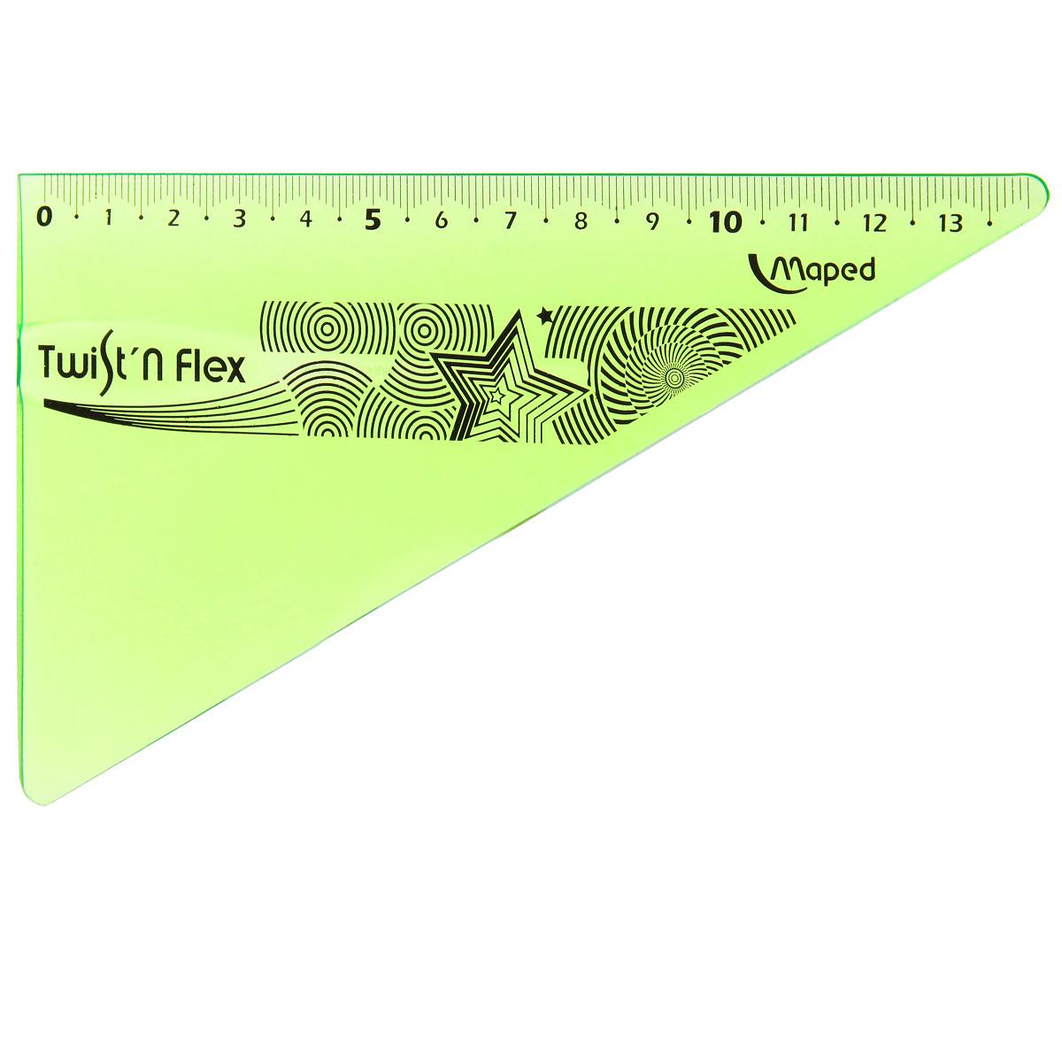 Угольник Maped Twist-n-Flex, неломающийся, 14 см, цвет: салатовый линейка maped twist n flex неломающаяся цвет голубой 20 см