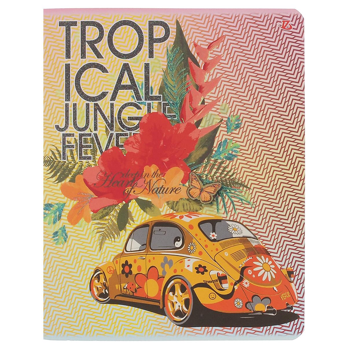 """Тетрадь в клетку """"Расписные авто"""", цвет: желтый, оранжевый, 60 листов. 7228/5"""