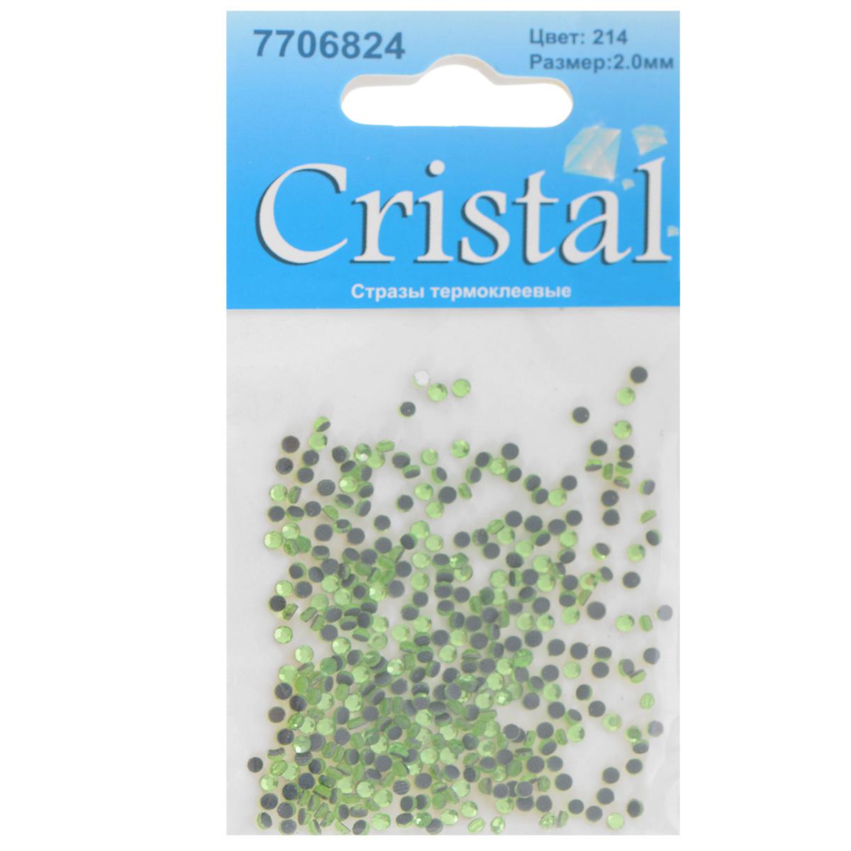 """Стразы термоклеевые """"Cristal"""", цвет: светло-зеленый (214), диаметр 2 мм, 432 шт"""