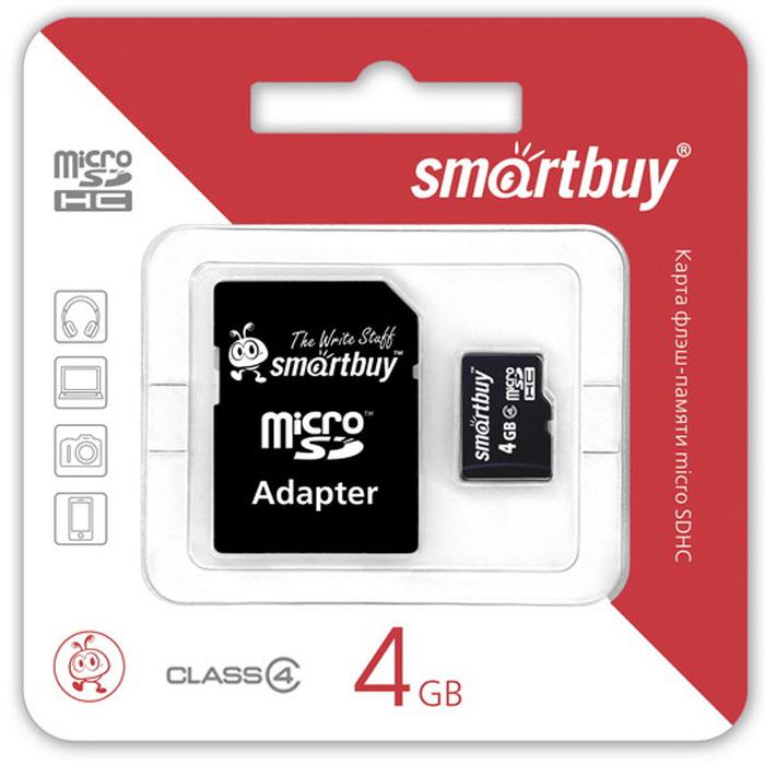 SmartBuy microSDHC Сlass 4 4GB карта памяти (с адаптером SD) карта памяти в самсунг