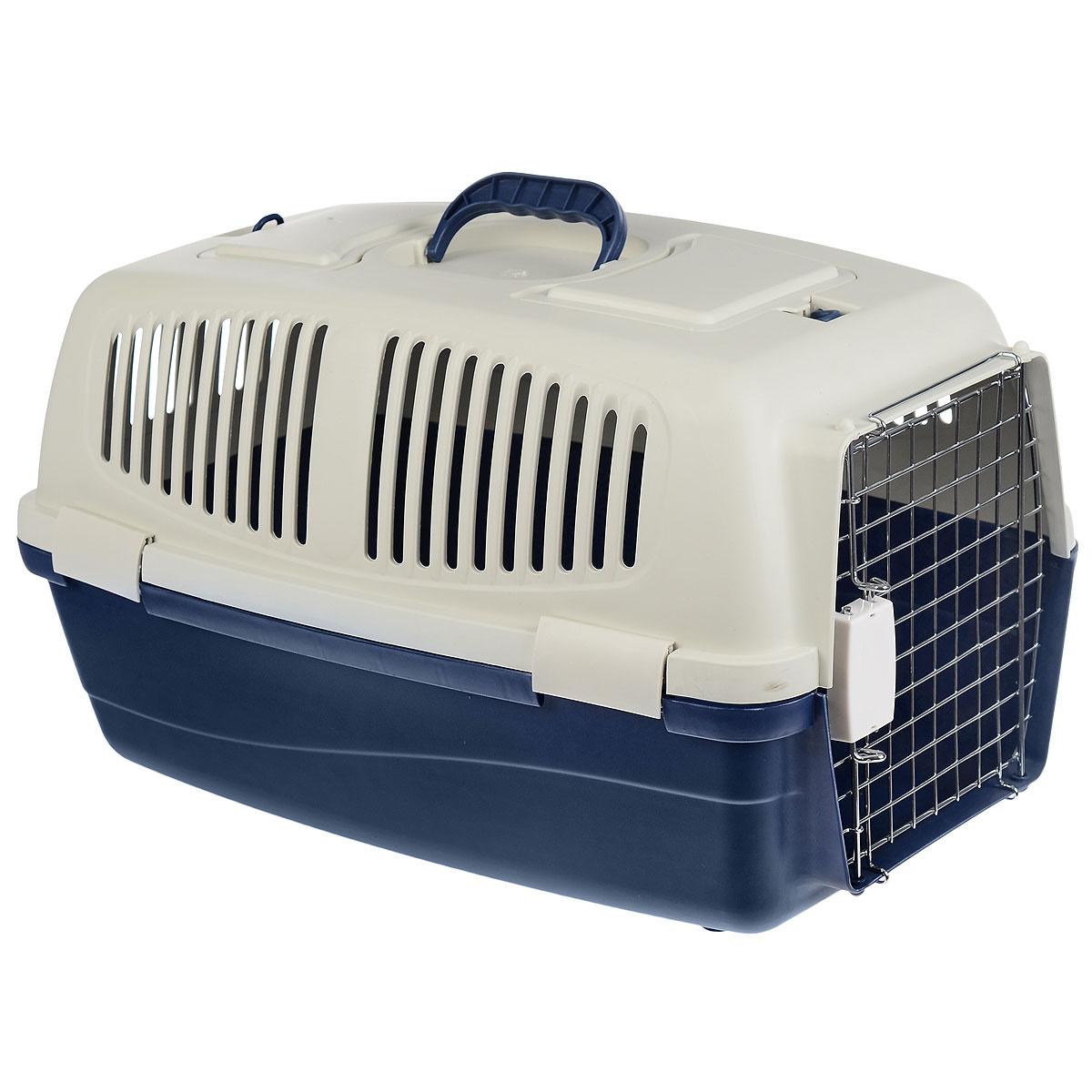 Переноска для животных Triol, с замком, цвет: синий, серый, 62 х 34 х 36 см переноска для животных triol с замком цвет синий серый 62 х 34 х 36 см