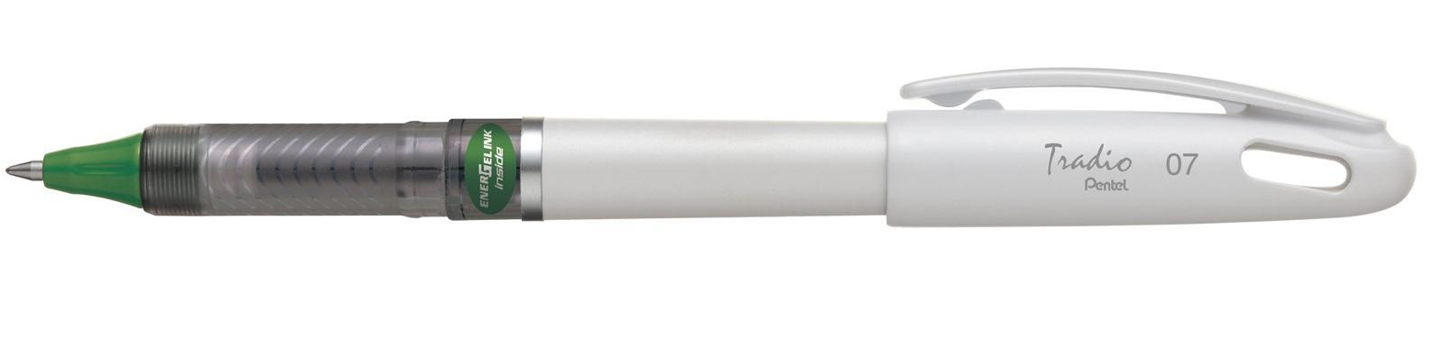 Гелевая ручка TRADIO ENERGEL зеленый стержень 0.7мм, белый корпус в блистере ручка перьевая pentel tradio calligraphy pen 1 8mm black trc1 18a