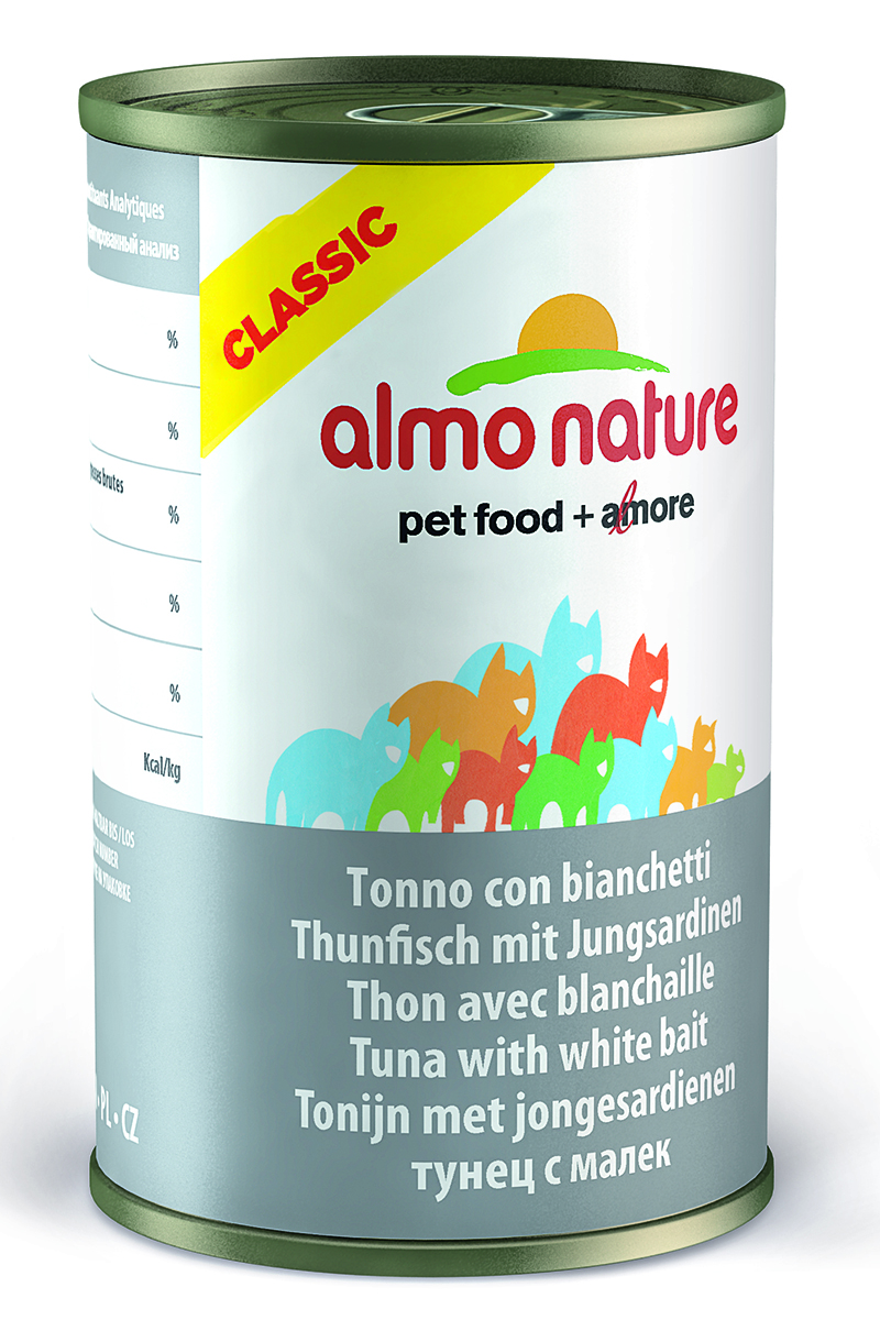 Консервы для кошек Almo Nature Classic, с тунцом и сардинками, 140 г20077Консервы Almo Nature Classic - сбалансированный влажный корм для кошек, изготовленный из ингредиентов высшего качества, являющихся натуральными источниками витаминов и питательных веществ. Состав: филе тунца 38%, рыбный бульон 47%, сардины 12%, рис 3%. Гарантированный анализ: белок – 14%, клетчатка - 0,5%, жиры – 0,5%, зола – 2%, влажность - 83%. Калорийность – 530 ккал/кг. Товар сертифицирован.