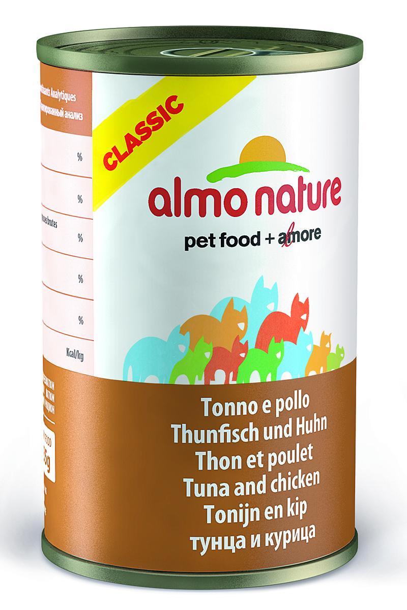Консервы для кошек Almo Nature Classic, с тунцом и курицей, 140 г консервы для кошек almo nature classic raw pack куриная грудка и утиное филе 55 г