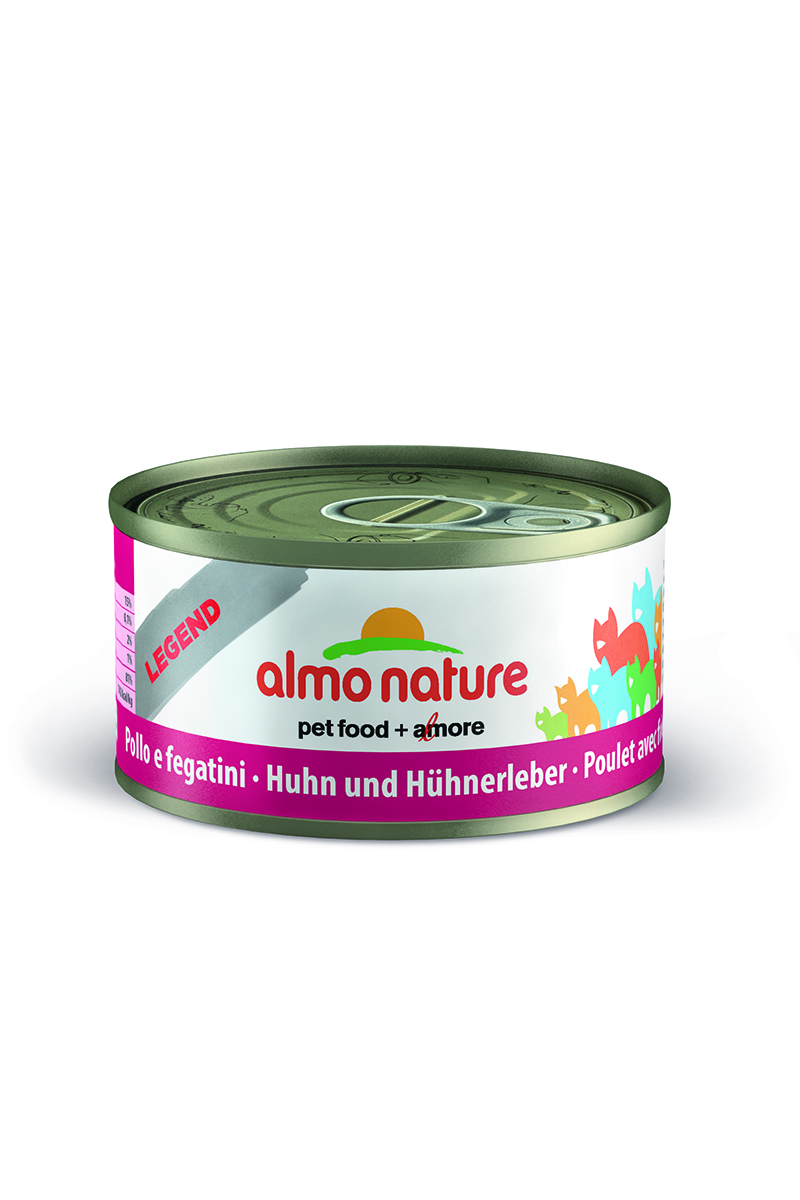 Консервы Almo Nature Legend для кошек, с курицей и печенью, 70 г24181Консервы Almo Nature - супер-премиум корм для кошек, в банках, сохраняющих свежесть каждого кусочка. Корм изготовлен только из свежих высококачественных натуральных ингредиентов, что обеспечивает здоровье вашей кошки. Не содержит ГМО, антибиотиков, химических добавок, консервантов и красителей. Состав: курица 70%, куриный бульон 24%, печень 5%, рис 1%. Гарантированный анализ: белки 15%, клетчатка 0.1%, масла и жиры 2%, зола 1%, влажность 81%. Товар сертифицирован. Уважаемые клиенты! Обращаем ваше внимание на то, что упаковка может иметь несколько видов дизайна. Поставка осуществляется в зависимости от наличия на складе.