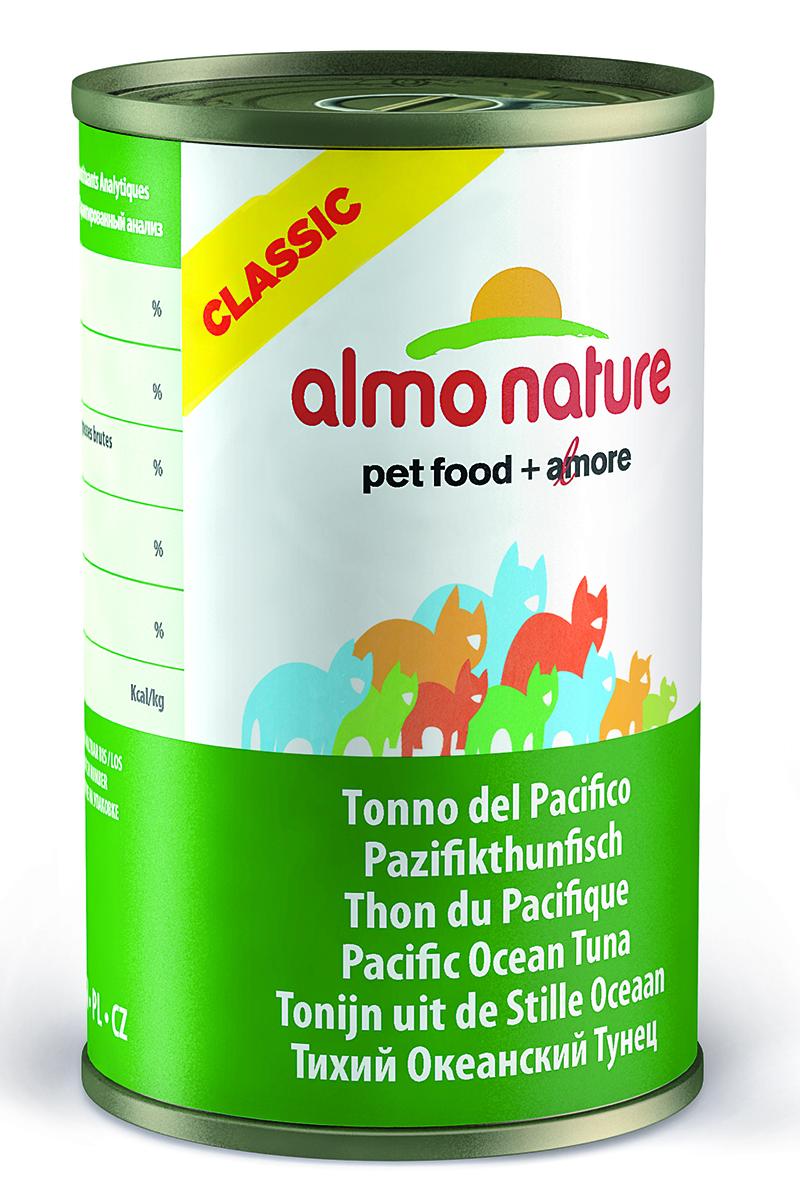 Консервы для кошек Almo Nature Classic, с тихоокеанским тунцом, 140 г консервы almo nature classic light для кастрированных котов и стерилизованных кошек с полосатым тунцом 55 г