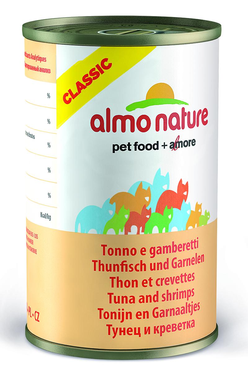Фото - Консервы для кошек Almo Nature Classic, с тунцом и креветками, 140 г консервы almo nature для кошек с океанической рыбой 85 г
