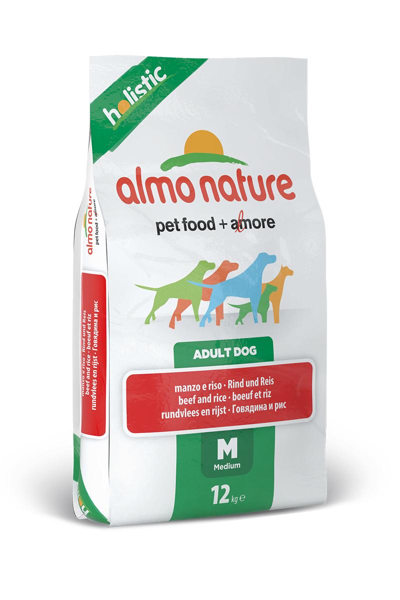 """Корм сухой Almo Nature """"Holistic"""" для взрослых собак средних пород, с говядиной и коричневым рисом, 12 кг"""