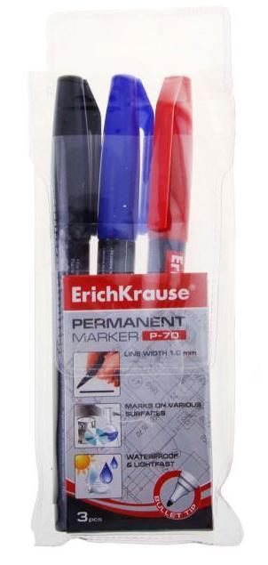 Перманентный маркер ErichKrause P-70, цвет чернил черный, синий, красный, 3 шт calligrata маркер перманентный 1104 цвет красный