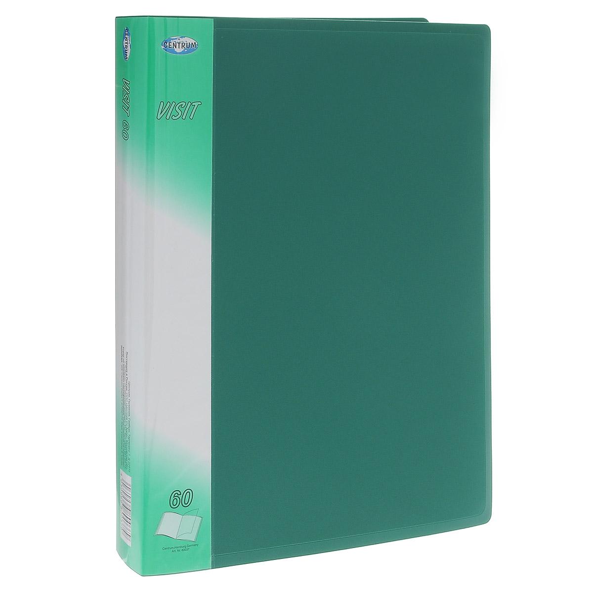 Папка с файлами Centrum Visit, 60 листов, цвет: зеленый. 80037 папки канцелярские centrum папка регистр а4 5 см фиолетовая