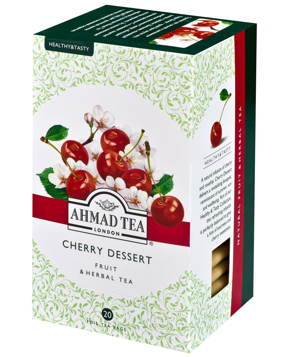 Ahmad Tea Cherry Dessert травяной чай в фольгированных пакетиках, 20 шт
