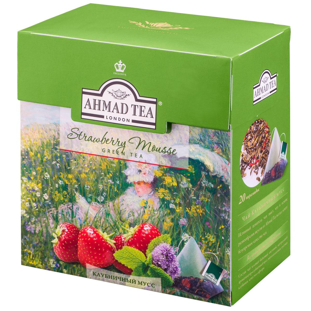 цены Ahmad Tea Strawberry Mousse зеленый чай в пирамидках, 20 шт