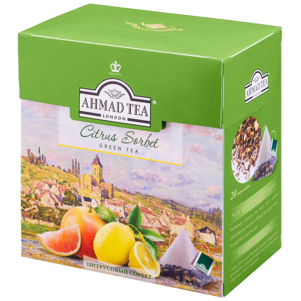 Ahmad Tea Citrus Sorbet зеленый чай в пирамидках, 20 шт