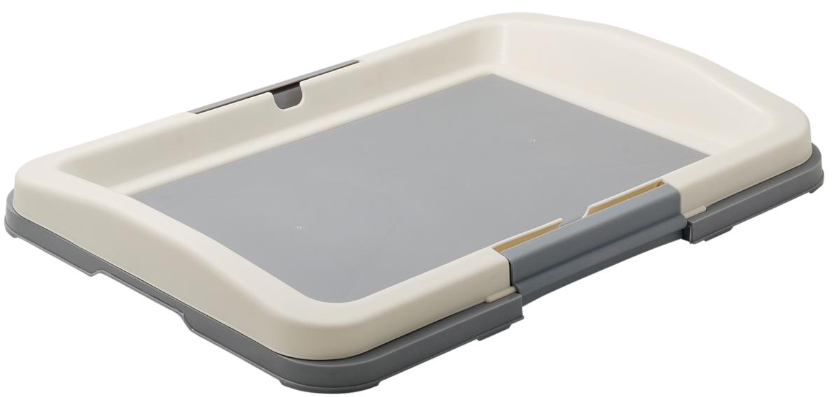 Туалет для собак V.I.Pet Японский стиль, цвет: серый, белый, 48 х 35 х 5 см туалет для собак v i pet японский стиль цвет коричневый молочный 48 х 35 х 5 см