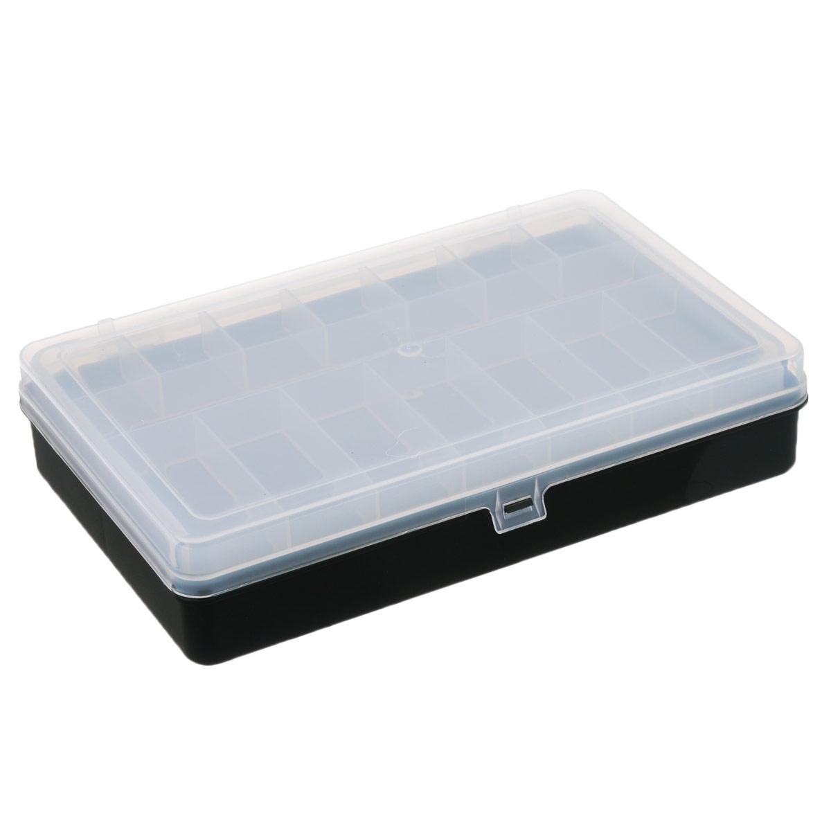 "Коробка для мелочей ""Trivol"", двухъярусная, цвет: черный, 23,5 см х 15 см х 5 см"