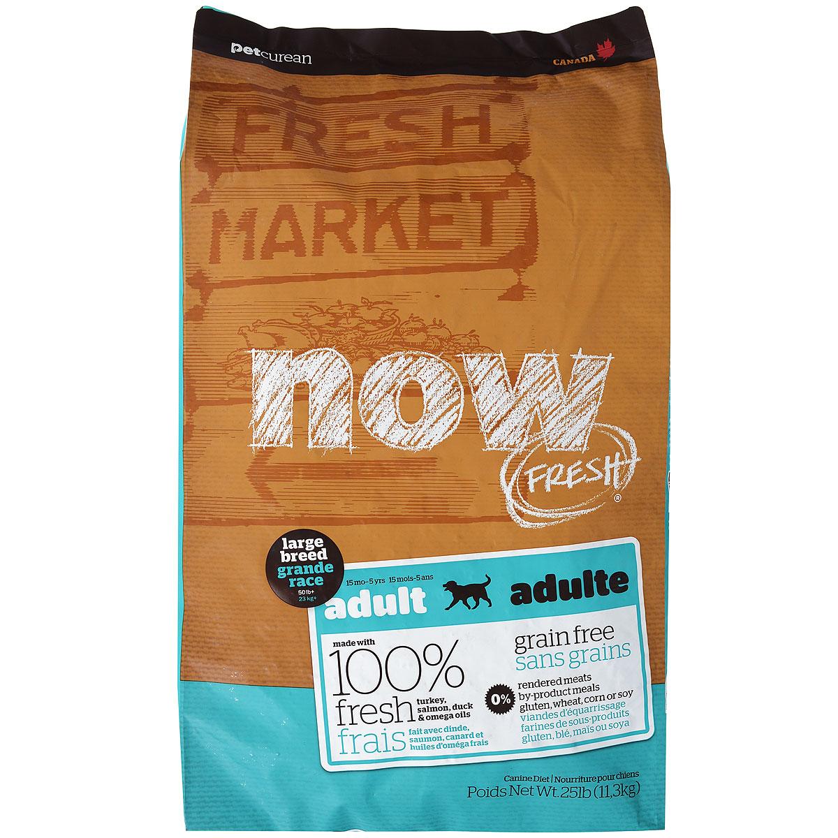 """Корм сухой """"Now Fresh"""" для взрослых собак крупных пород, беззерновой, с индейкой, уткой и овощами, 11,3 кг"""