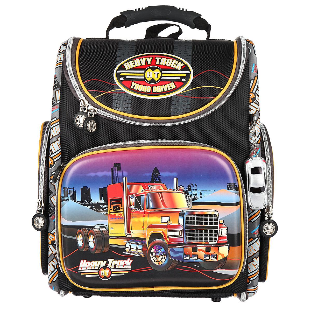 Ранец школьный Hummingbird Heavy Truck, цвет: черный, серный, желтый. K82 hummingbird ранец bmx rider
