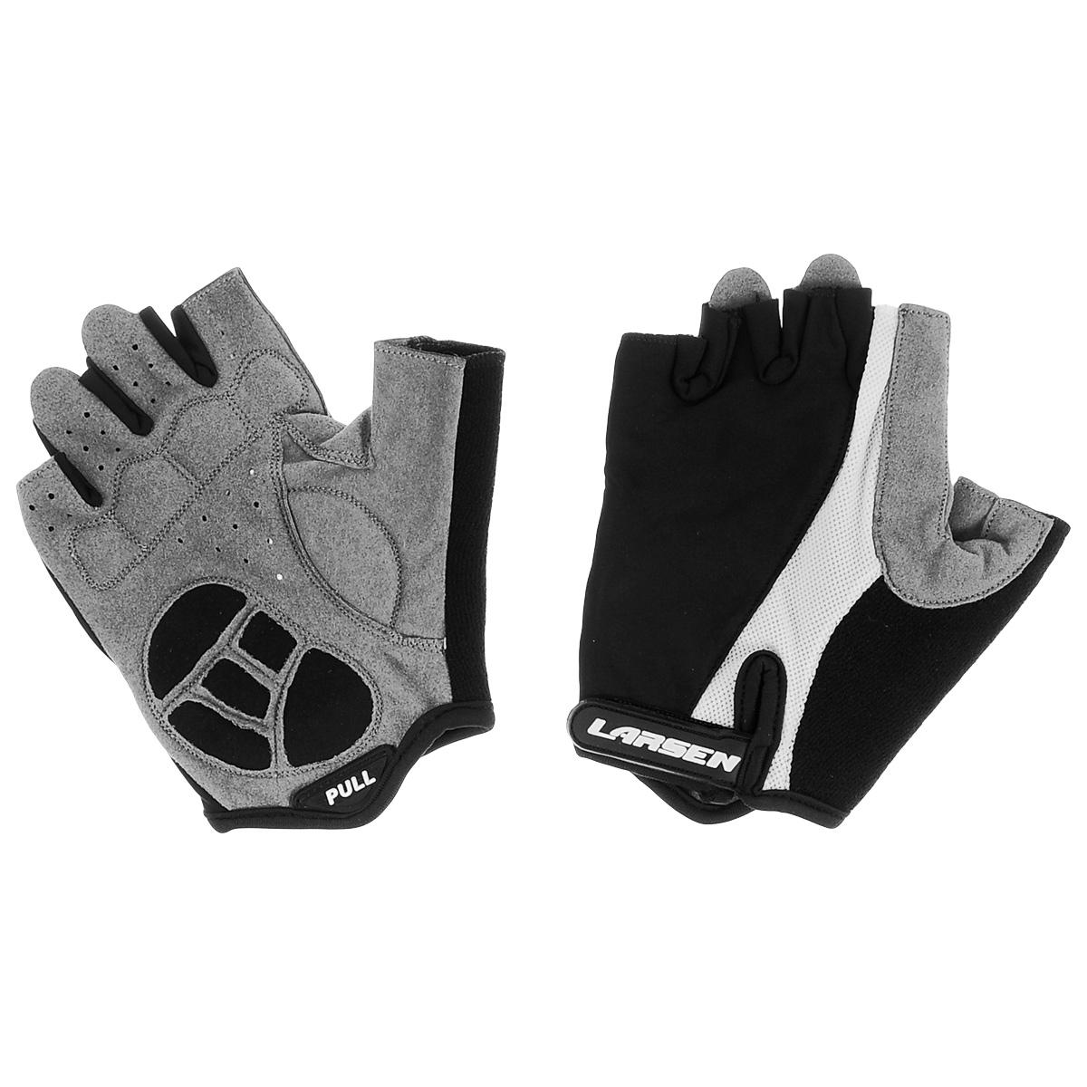 Велоперчатки Larsen, цвет: черный, серый, белый. Размер XL. 01-1226