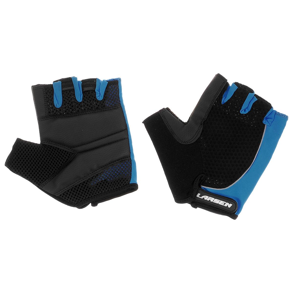 """Велоперчатки """"Larsen"""", цвет: черный, синий. Размер S"""