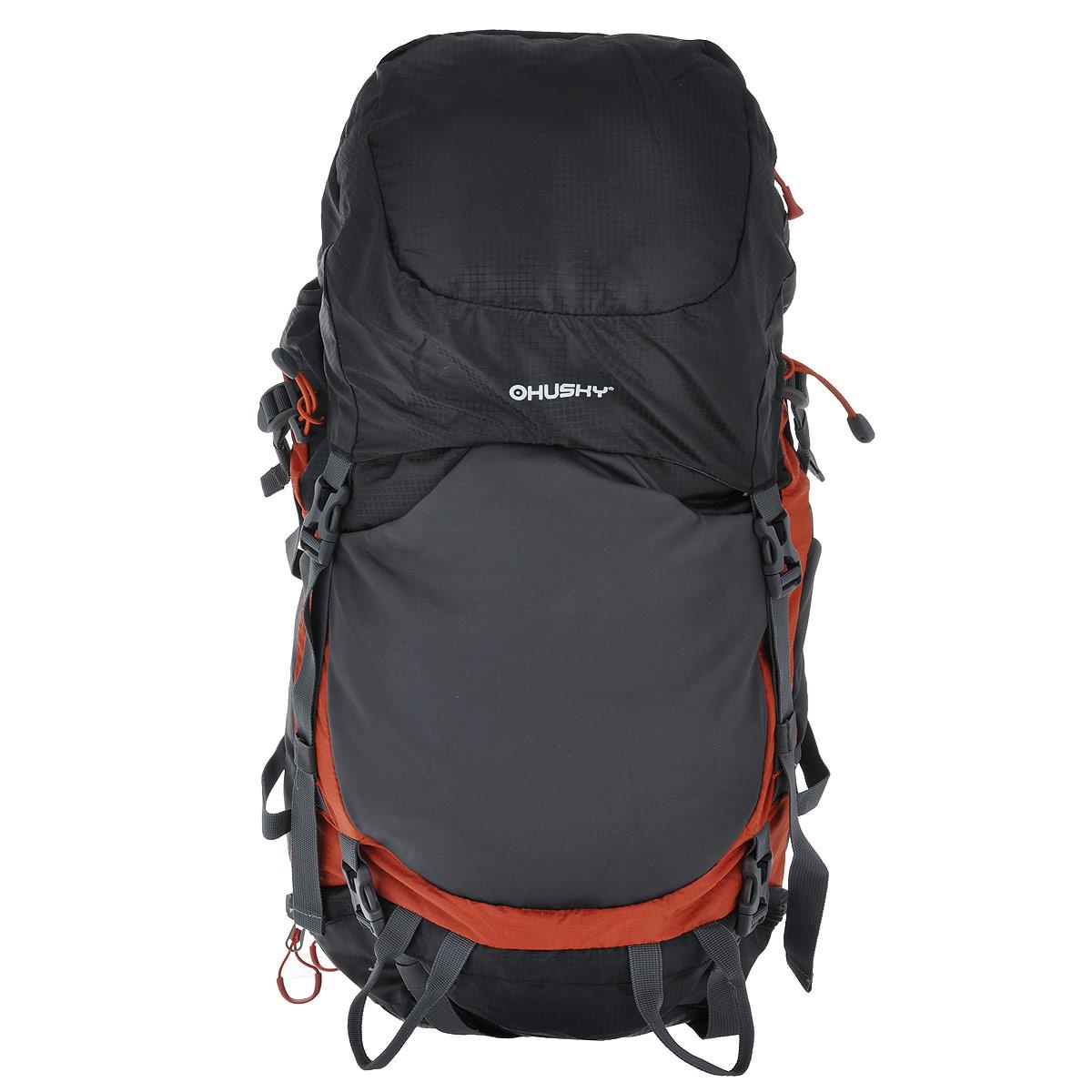 Рюкзак туристический Husky Menic, цвет: черный, серый, оранжевый, 50 л husky menic