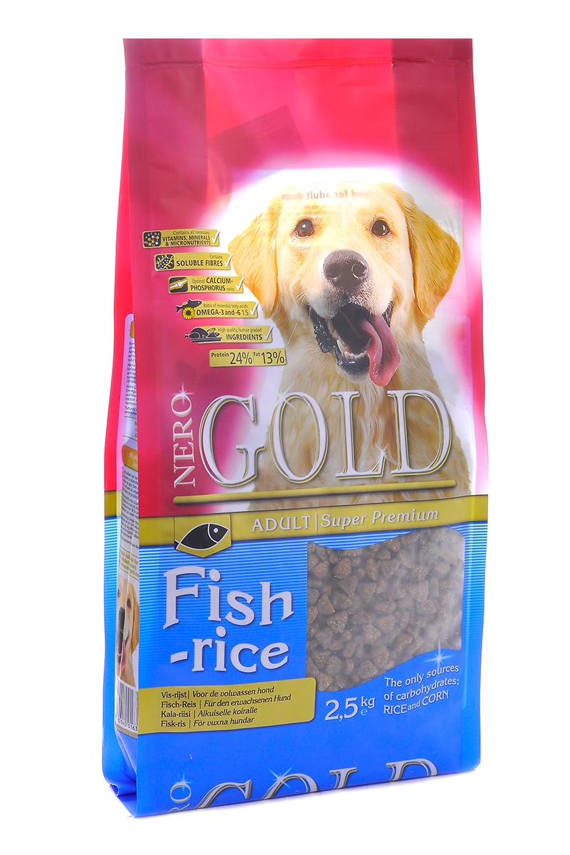 NERO GOLD super premium Для Взрослых собак: Рыбный коктейль, рис и овощи (Fish&Rice 24/13), 2,5 кг. nero gold super premium для собак отзывы