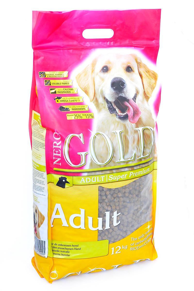 """Корм сухой Nero Gold """"Adult"""", для взрослых собак, курица и рис, 12 кг"""