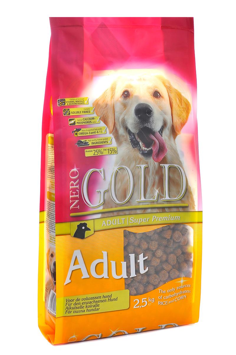 NERO GOLD super premium Для Взрослых собак: Курица и рис (Adult), 2,5 кг. nero gold super premium для собак отзывы