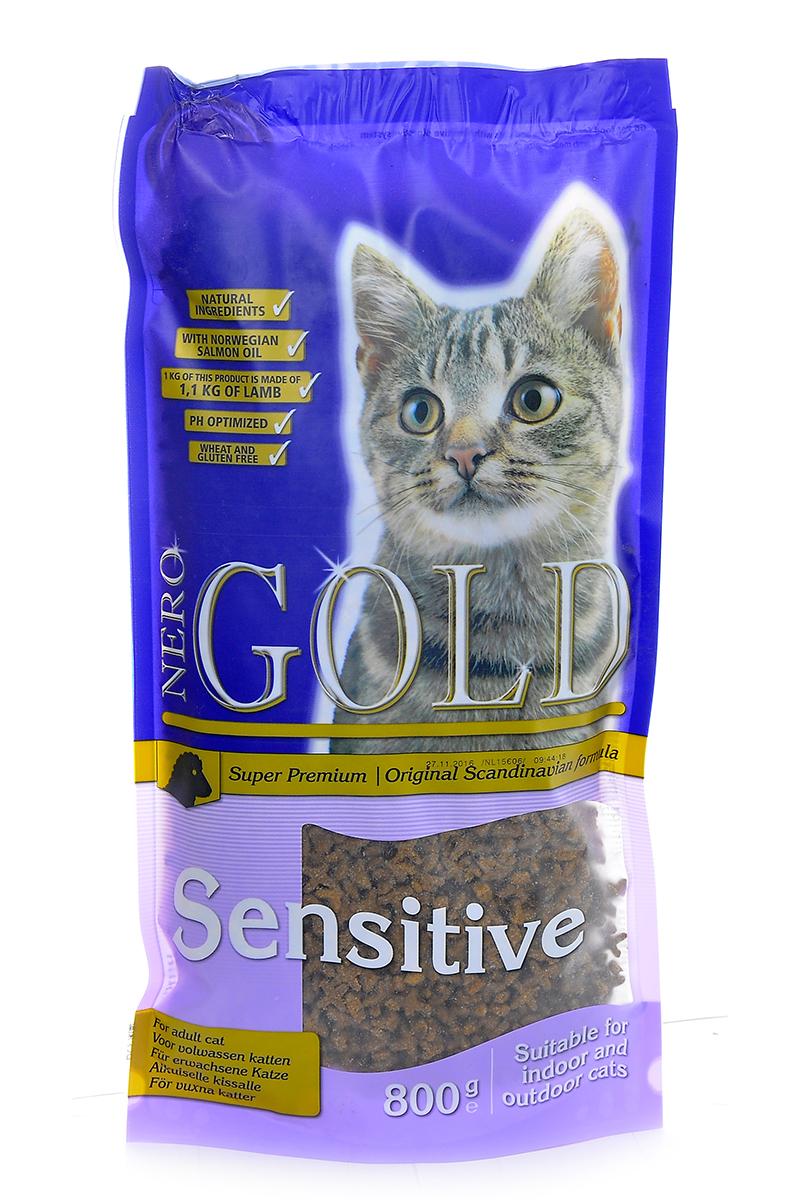 """Корм сухой Nero Gold """"Sensitive"""", для кошек с чувствительных пищеварением, ягненок, 800 г"""