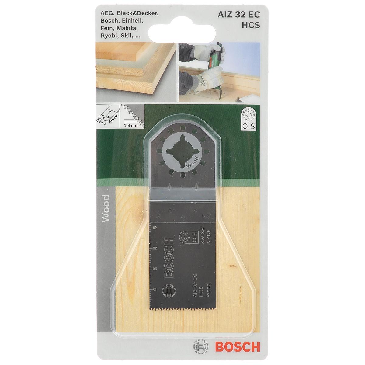 Пильное полотно по дереву Bosch HCS, для PMF 180, 32х40 мм пильное полотно по дереву bosch hcs для pmf 180 30х10 мм