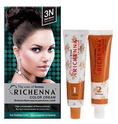 Richenna Крем-краска для волос, с хной, оттенок 3N Темно-коричневый29000Крем-краска для волос Richenna с хной позволяет уменьшить повреждение волос, сделать их эластичными и здоровыми, придать волосам живой цвет и красивый блеск. Не раздражая кожу, крем-краска полностью закрашивает седину и обладает приятным цветочным ароматом. Рекомендуется для безопасного изменения цвета волос, полного окрашивания седых волос и в случае повышенной чувствительности к искусственным компонентам краски для волос. Благодаря кремовой текстуре хорошо наносится и не течет. Время окрашивания 20-30 минут. Упаковка средства в 2-х отдельных тубах позволяет использовать средство несколько раз в зависимости от объема и длины волос. Объем крема-краски 60 г, объем крема-окислителя 60 г, объем шампуня с хной 10 мл, объем кондиционера с хной 7 мл. В комплекте: 1 тюбик с крем-краской, 1 тюбик с крем-окислителем, пакетик с шампунем, пакетик с кондиционером, 1 пара перчаток, накидка, пластиковая тара, расческа-кисточка для нанесения и распределения крем-краски и инструкция по применению. Товар сертифицирован. Рекомендуем!
