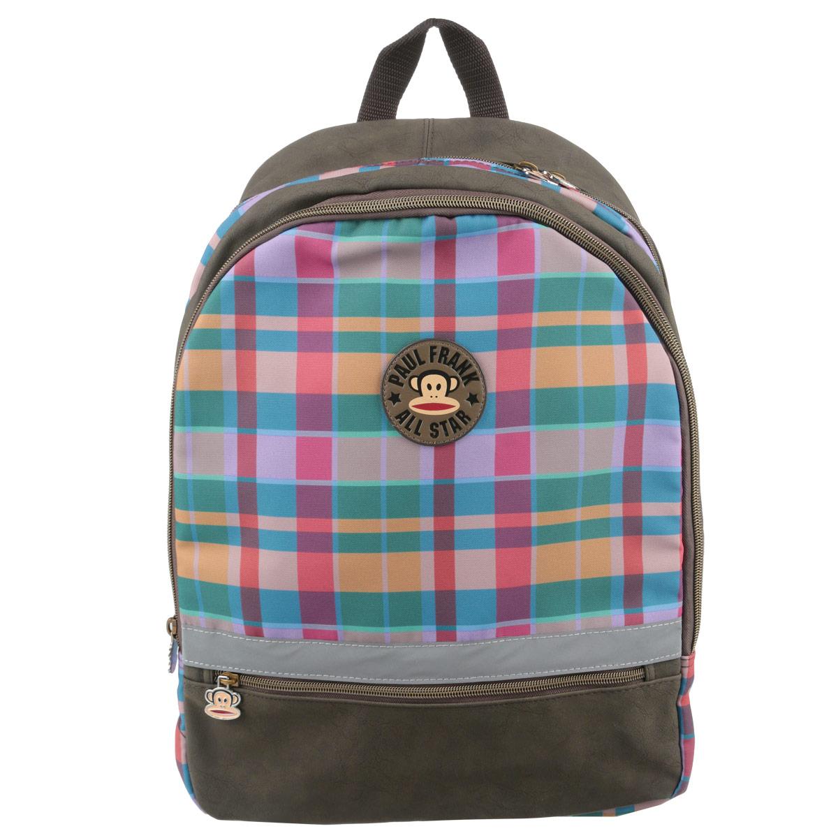 Рюкзак Kinderline Paul Frank, цвет: коричневый, розовый, зеленый