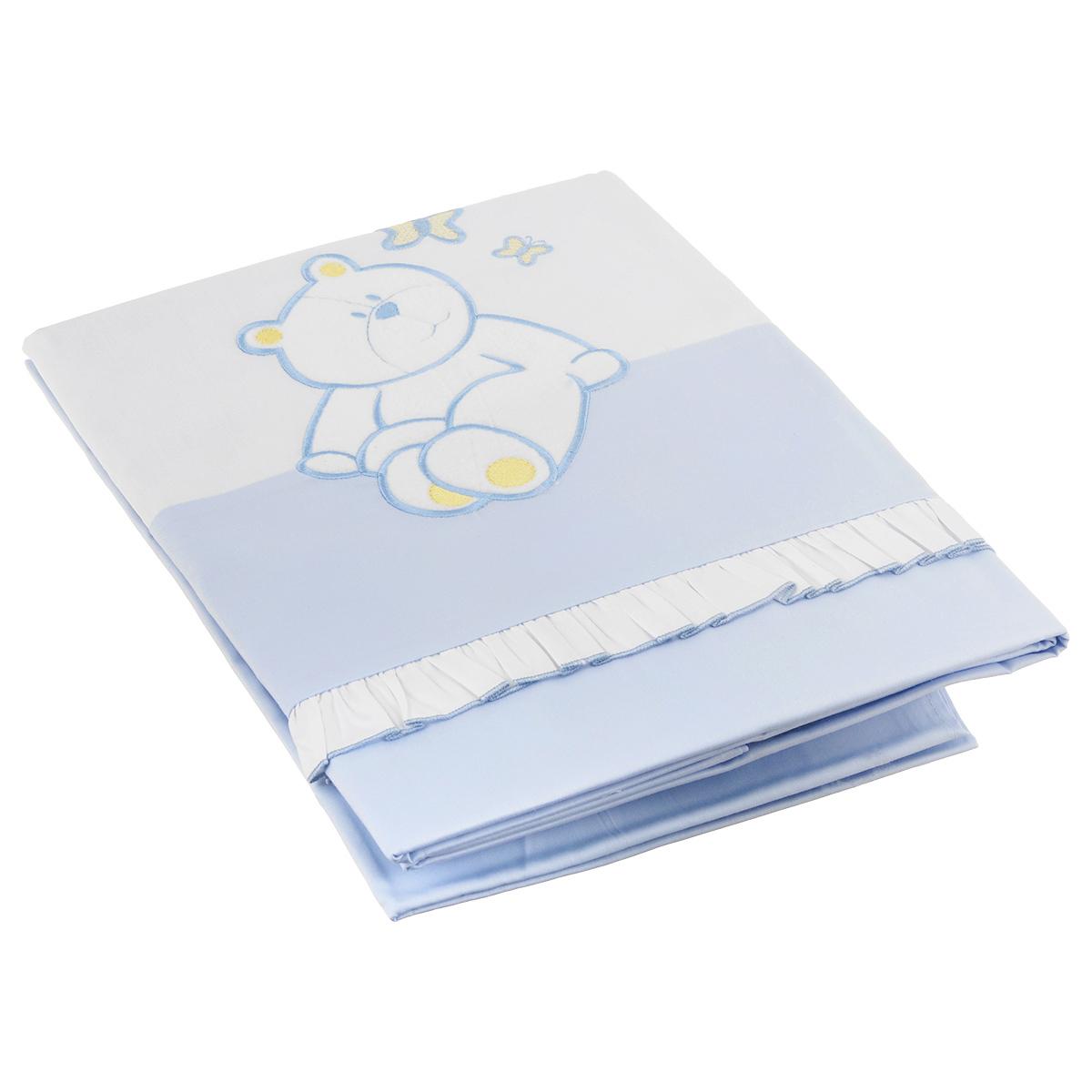 Комплект детского постельного белья Сонный Гномик Пушистик, цвет: голубой, 3 предмета комплект постельного белья сонный гномик пушистик розовый 710 2б