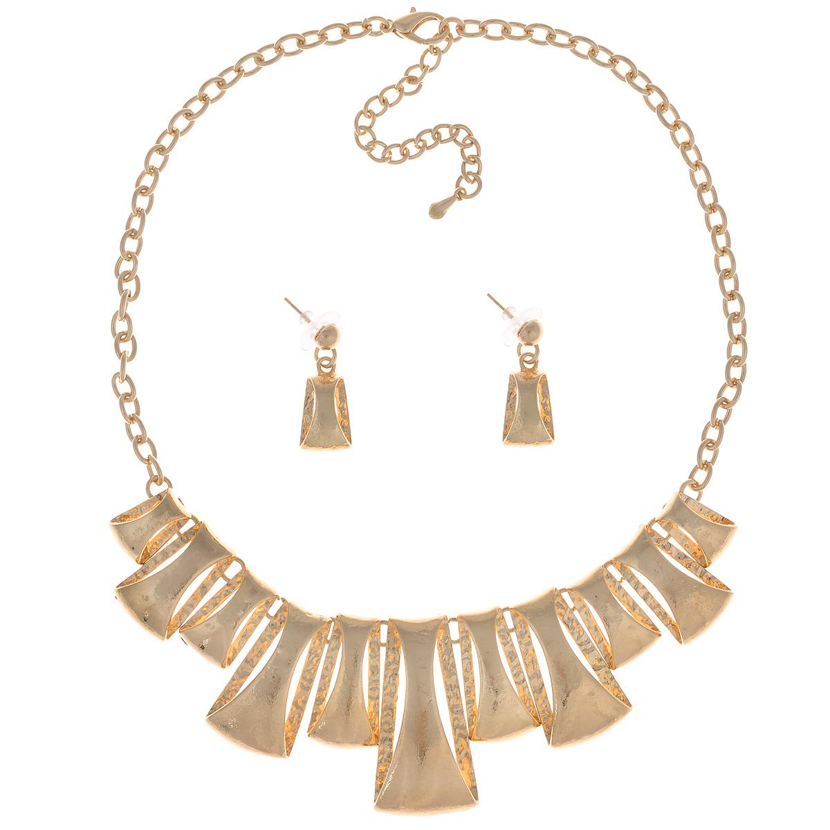 Комплект украшений Taya: колье, серьги, цвет: золотистый. T-B-9291