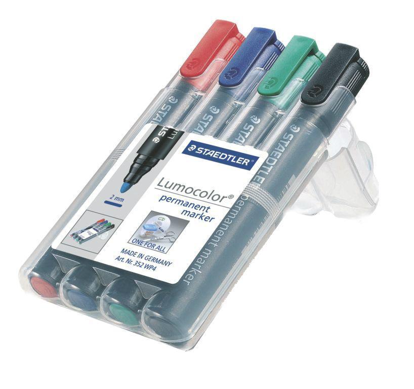 Staedtler Набор перманентных маркеров Lumocolor 4 цвета