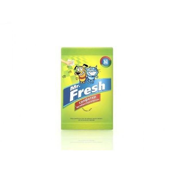 Салфетки влажные Mr.Fresh, антибактериальные, для лап, 15 шт полотенца для животных triol салфетки рукавицы влажные для животных уп 5шт
