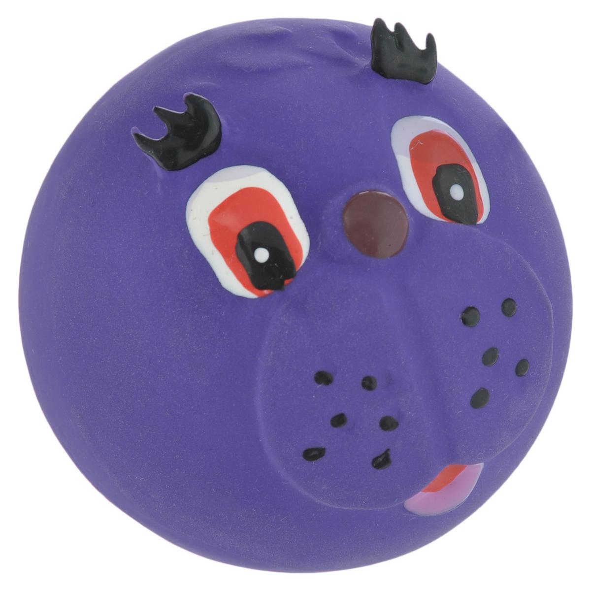 Игрушка для собак I.P.T.S. Мяч с мордочкой, цвет: фиолетовый, диаметр 7 см феникс презент декоративная фигурка из полирезины 7 7x2 3x4 5