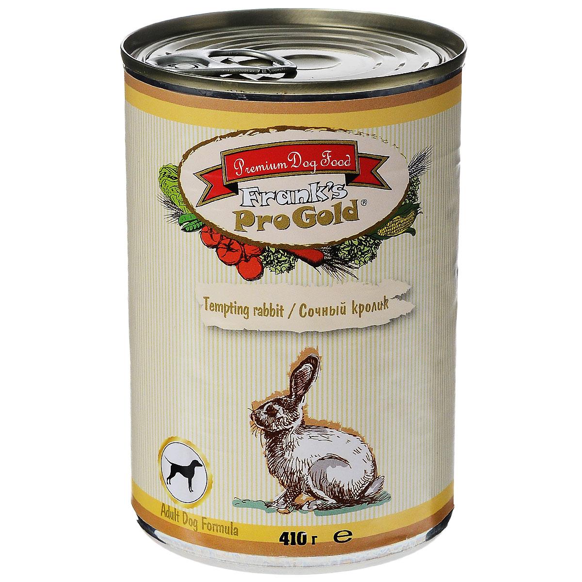 """Консервы для собак """"Frank's ProGold"""", с сочным кроликом, 410 г"""