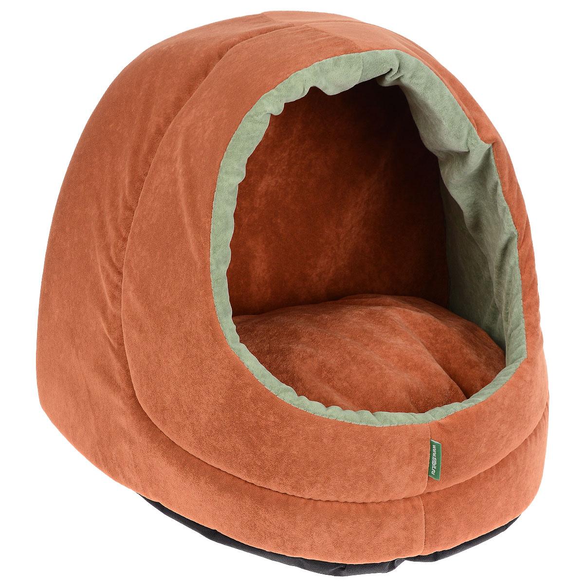 Домик для кошек и собак Titbit, цвет: оранжевый, 35 см х 40 см х 35 см гамак для кошек titbit на радиатор цвет бежевый 30 см х 45 см
