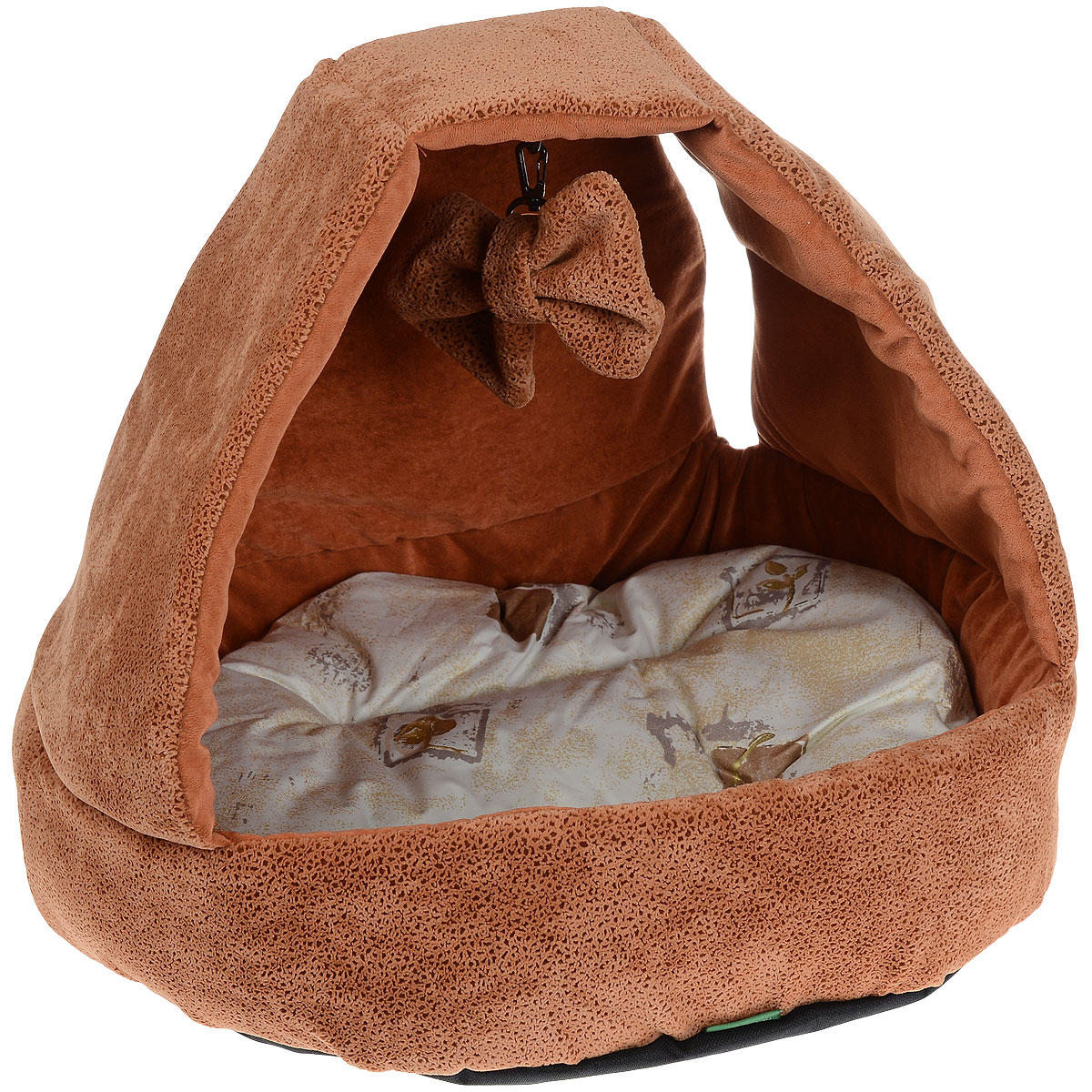 """Домик для кошек и собак """"Titbit"""" с игрушкой, цвет: рыжий, 43 см х 43 см х 40 см"""