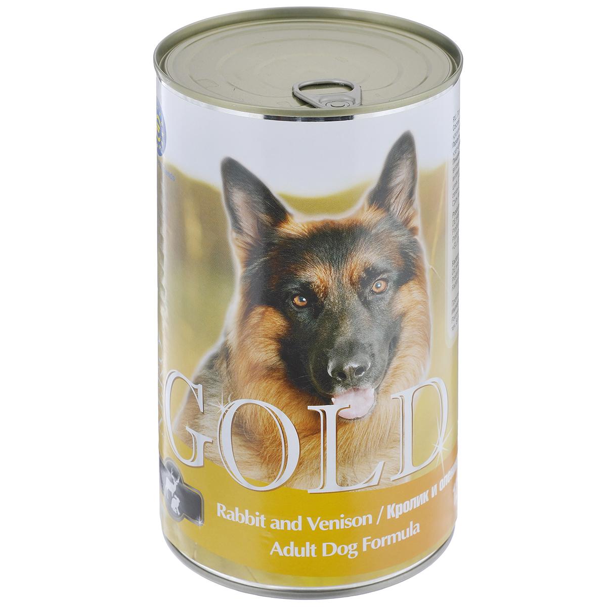 """Консервы для собак """"Nero Gold"""", с кроликом и олениной, 1250 г"""