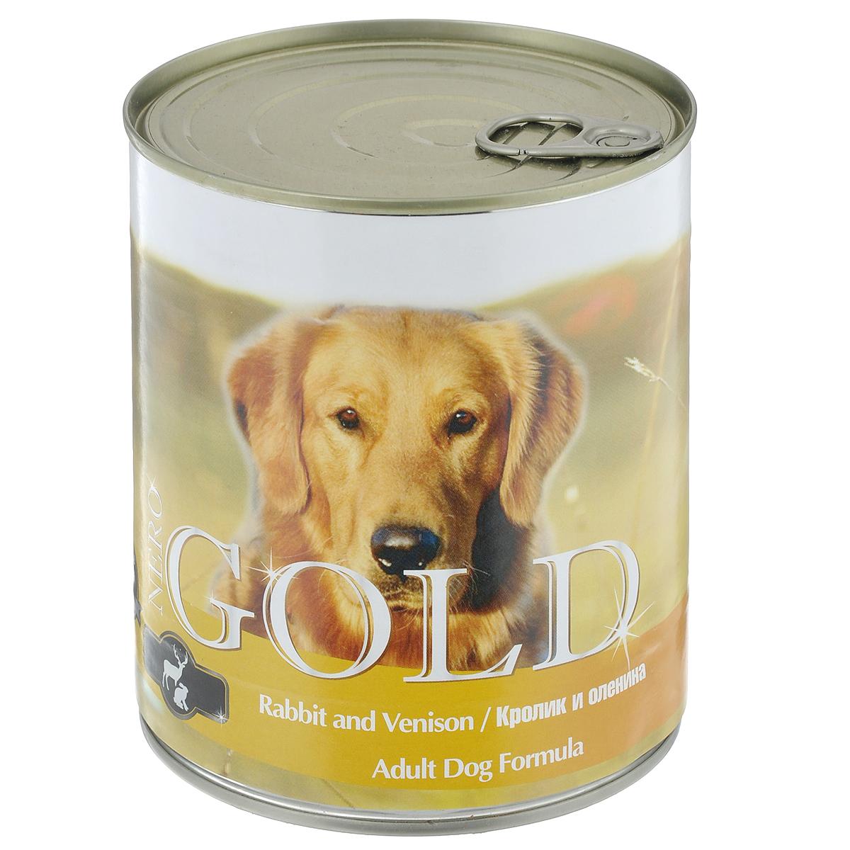 """Консервы для собак """"Nero Gold"""", с кроликом и олениной, 810 г"""