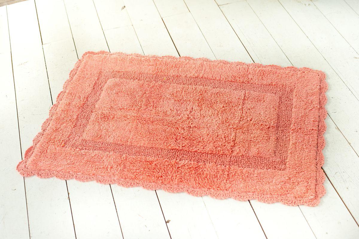 Фото - Коврик для ванной Arloni Лейс, с кружевом, цвет: коралловый, 50 х 80 см arloni коврик самотканный для ванной