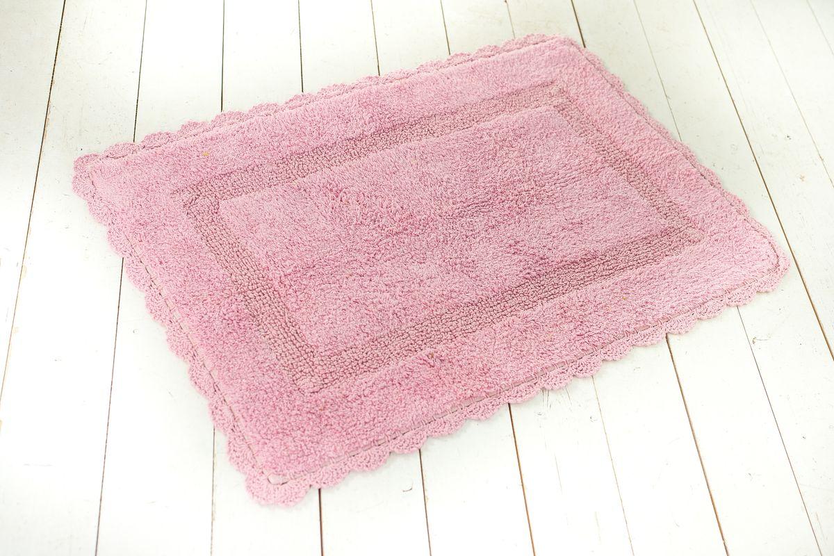 Фото - Коврик для ванной Arloni Лейс, с кружевом, цвет: сиреневый, 50 х 80 см arloni коврик самотканный для ванной
