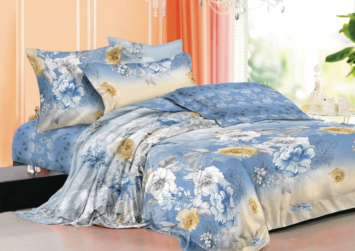 """Комплект белья """"La Noche Del Amor"""", евро, наволочки 70х70, цвет: голубой, белый, черный. А-670-200-240-70"""