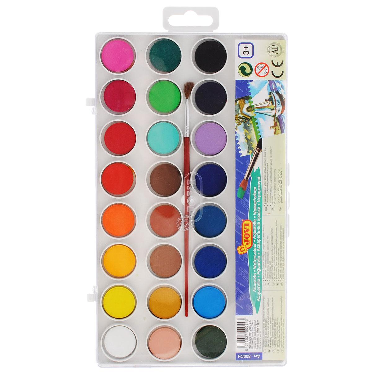 """Краски акварельные """"Jovi"""", с кисточкой, 24 цвета. 800/24"""