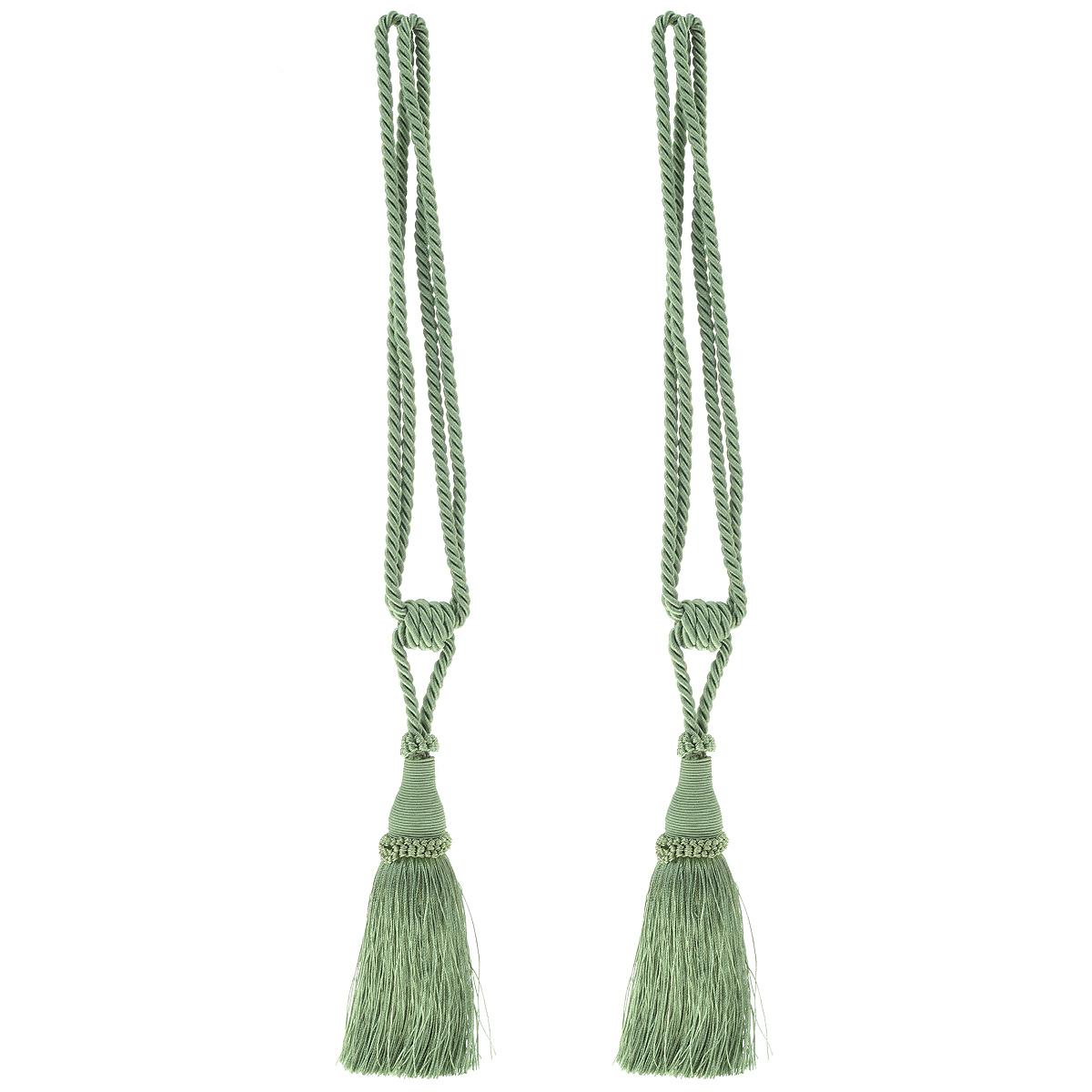 Подхват для штор Мир Мануфактуры, цвет: зеленый, длина 55 см, 2 шт подхват для штор протос цвет светло бежевый длина 70 см 2 шт