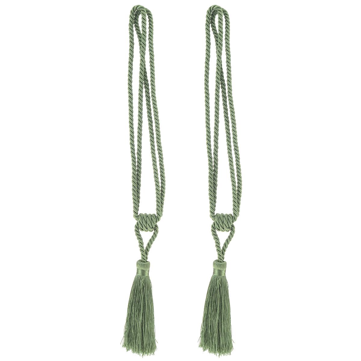Подхват для штор Мир Мануфактуры, цвет: зеленый, длина 43 см, 2 шт подхват для штор протос цвет светло бежевый длина 70 см 2 шт